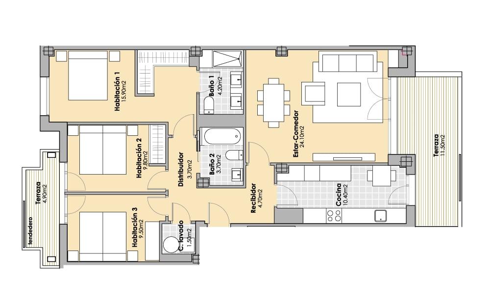 3 Habitaciones 105m2