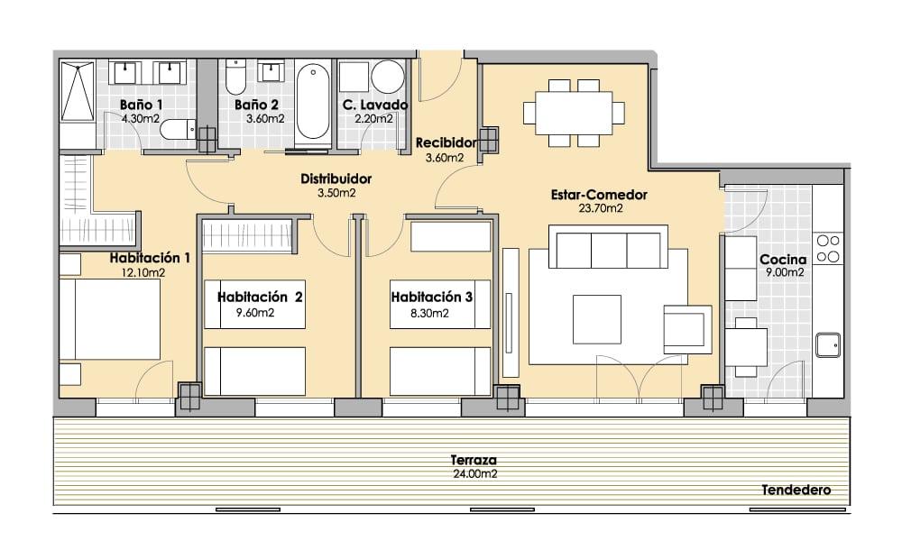3 Habitaciones 95m2