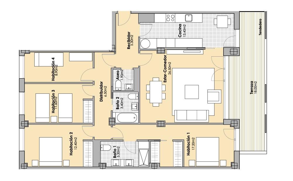 4 Habitaciones