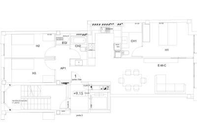 Piso tipo de 3 habitaciones