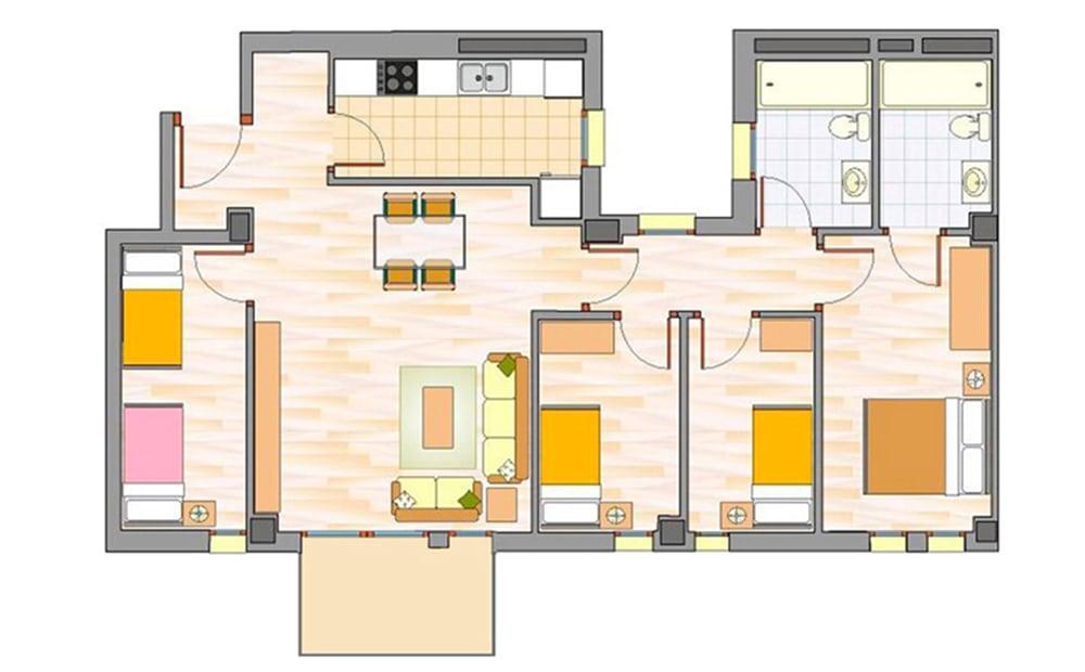 Piso de 4 habitaciones
