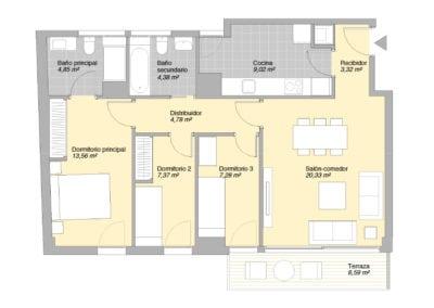Piso de 3 habitaciones 3 1 E1