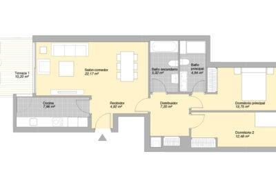 Bajo de 2 habitaciones E4