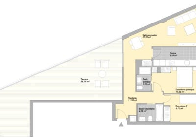 Bajo de 2 habitaciones E6