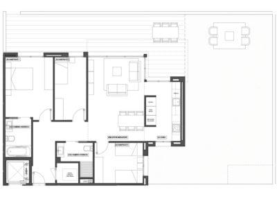 Planta baja de 3 habitaciones