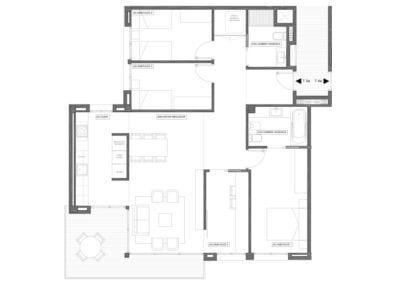 Piso tipo de 4 habitaciones