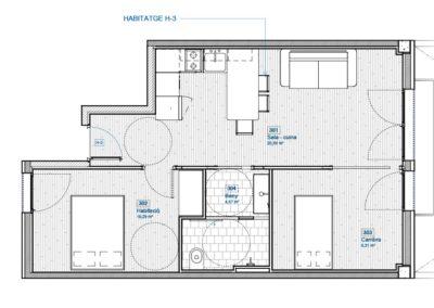 Piso obra nueva Santa Coloma 2 habitaciones interior