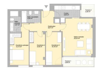 Piso de 3 habitaciones 1 2 E2